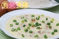 Mungbean Vermicelli, Dried Shrimps & Minced Pork on Steamed Egg, with Rice