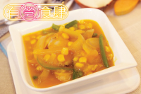 Braised Chicken & Sweet Corn in Pumpkin Sauce, with Rice